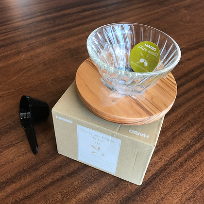 Hario V60 Glass Olive Wood