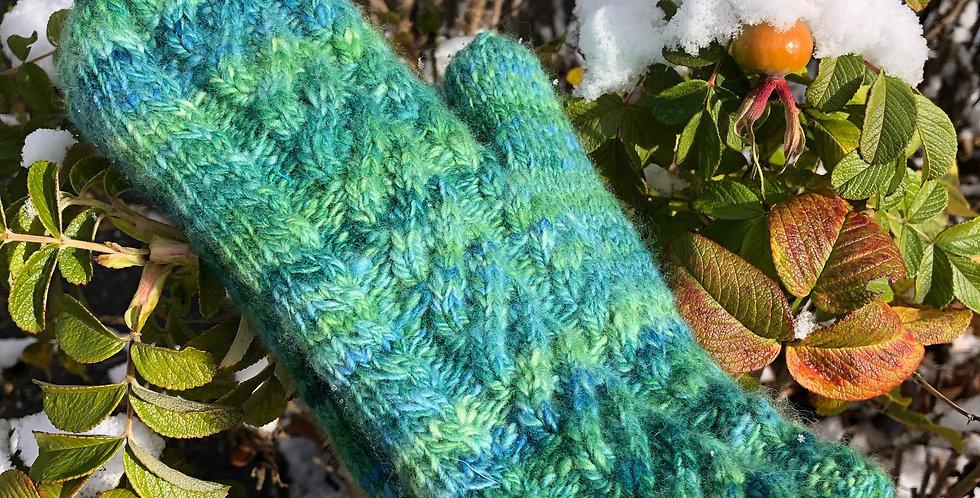 Mittens Hand spun, hand knit, wool and angora