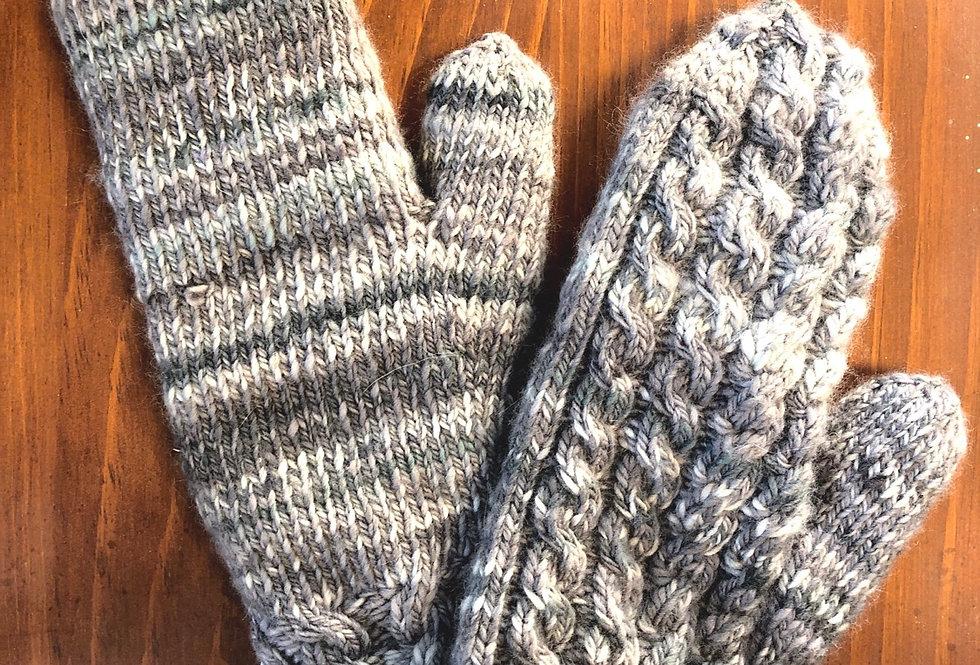Mittens, hand spun, hand knit, wool and angora (bunny)
