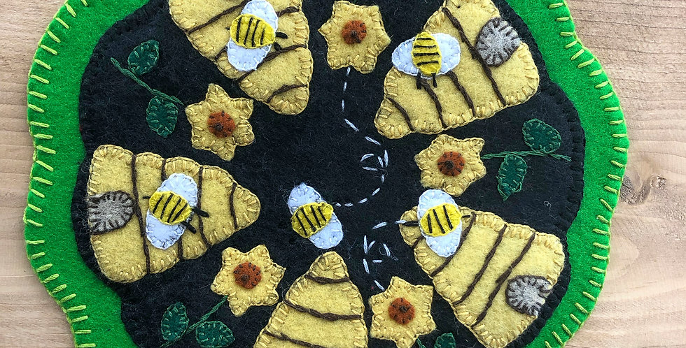 BE My Honey BEE Penny Wool Candle Mat