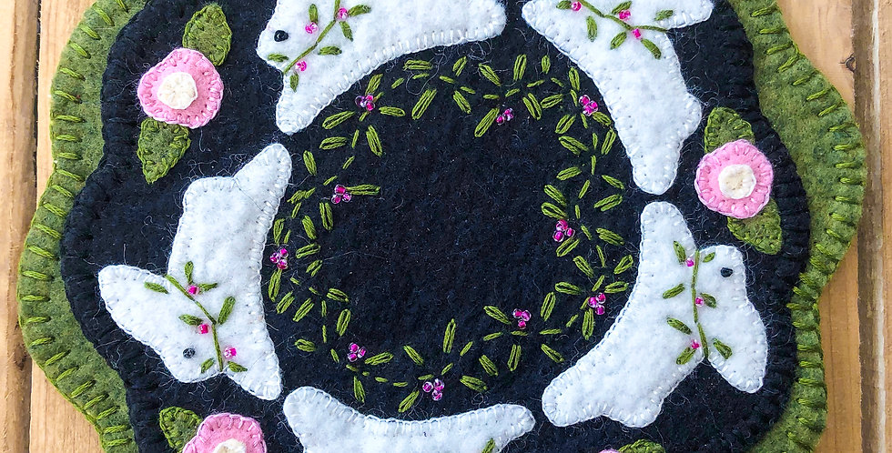 Bunny Penny Wool Candle Mat