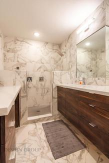 Fort Worth Contemporary Remodel, MTK Design Group, Bathroom Remodel, Marble Tile, Floating Vanity, Shower Design