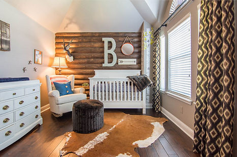 kids room designs, nursery design, rustic nursery, curtains, nursery curtains, wood wall design, hide rugs, rockers, accessories, blue orange nursery