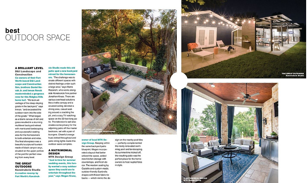MTK Design Group Featured as Nominee in Best Outdoor Space