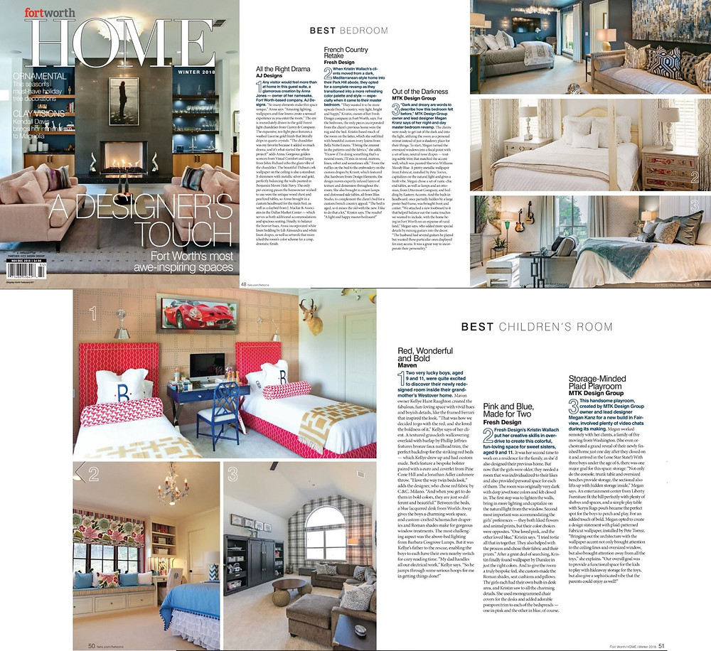 MTK Design Group Fort Worth Home Winter 2018 magazine feature for Award Finalist of Best Bedroom and Award Winner of Best Children's Room