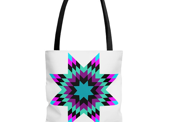 Star Quilt Pattern - Neon AOP Tote Bag