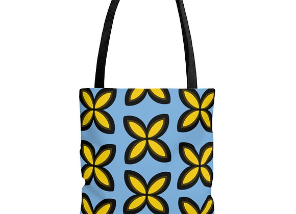 Yellow Floral on Blue AOP Tote Bag