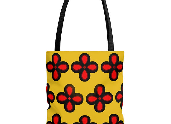 Red Floral on Yellow AOP Tote Bag