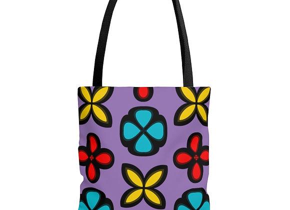 Multi Floral Purple AOP Tote Bag