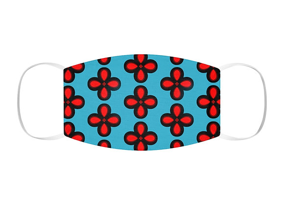 Red and Blue Floral Snug-Fit Polyester Face Mask