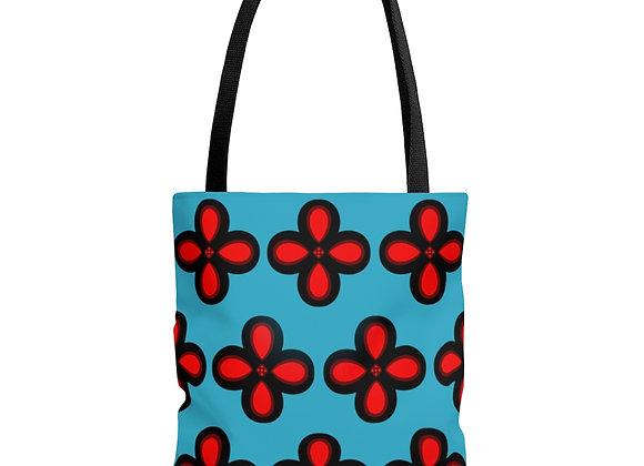 Red Floral on Blue AOP Tote Bag