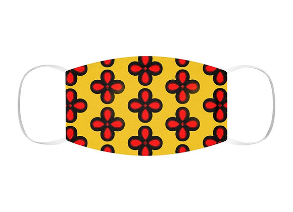 Red and Yellow Floral Snug-Fit Polyester Face Mask