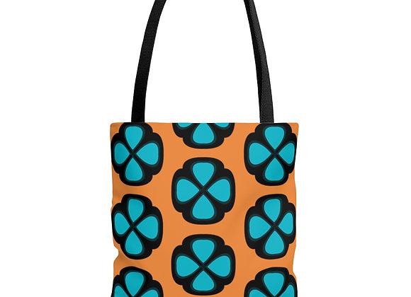 Blue Floral on Orange AOP Tote Bag