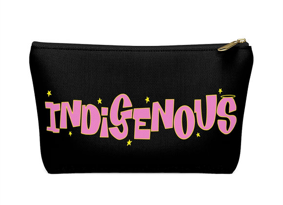 Pink Indigenous Black Accessory Pouch w T-bottom