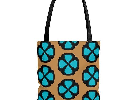 Blue Floral on Tan AOP Tote Bag