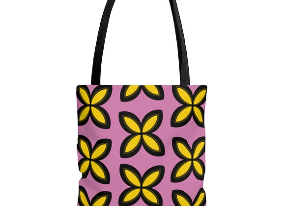 Yellow Floral on Pink AOP Tote Bag
