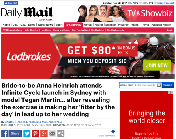 DAILY MAIL - ANNA HEINRICH X INFINITE CYCLE FEATURE #2