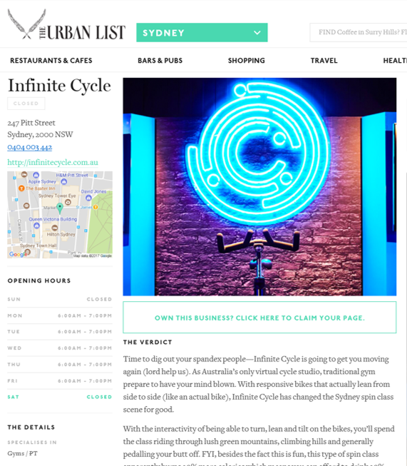 THE URBAN LIST - INFINITE CYCLE