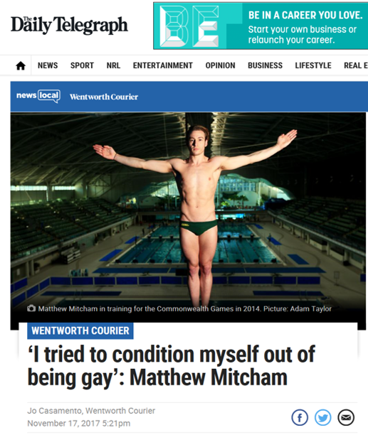 The Daily Telegraph - Matthew Mitcham X Affinity Diamonds