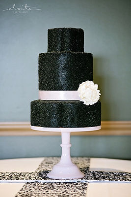 Black Glitterng 3 tier cake Tallant House