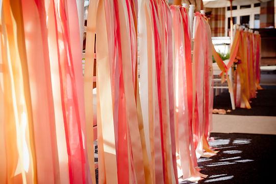 Ribbons decorate ceremony chairs WoodMark Hotel Kirkland, WA