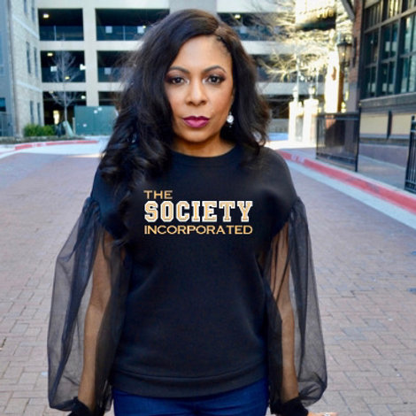 Society Sheer Sleeve Sweatshirt- ESTIMATED SHIP DATE - 5/8/21