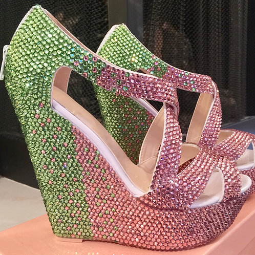 Pink & Green Ombre Royale Wedges