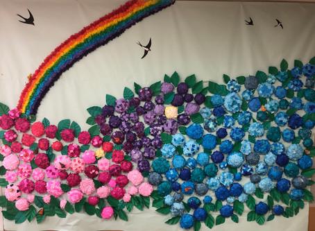 雨の中を美しく彩るお花たち