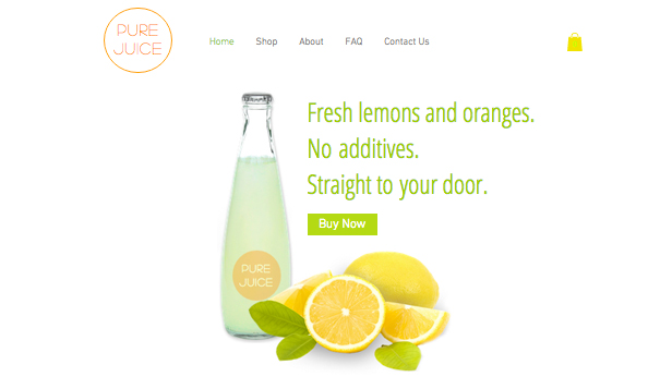 Mat og drikke website templates –  Nypresset juice