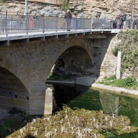 Bridge over torrent de l'Om and urbanization of the B-124 road at Monistrol de Calders