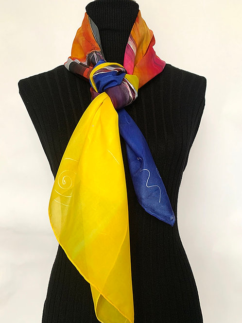 Hand Painted Silk Scarf  Abstract  110x110cm
