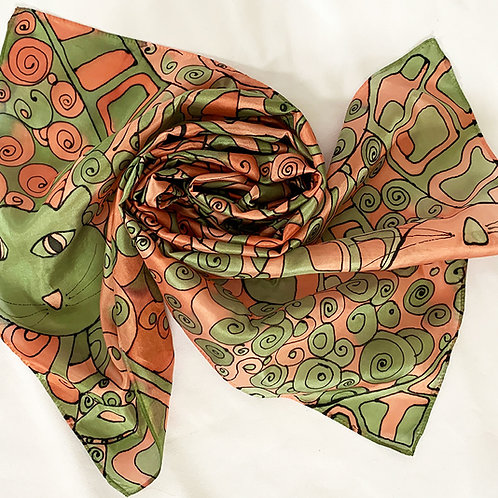 Hand Painted Silk Scarf Cats 40x150cm