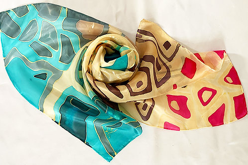 Hand Painted Silk Scarf Cells  45x180cm