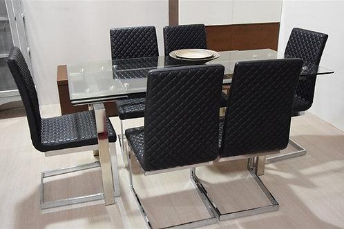 Mesa cristal y sillas negras