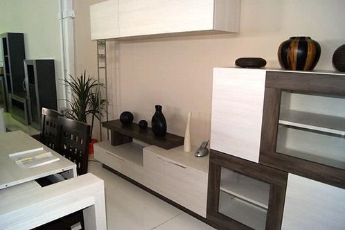 Mueble comedor blanco y castaño