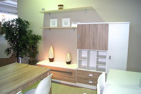 Mueble comedor blanco y roble