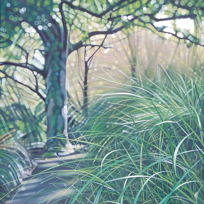 """Grand arbre et hautes herbes"" 1m x 1m"