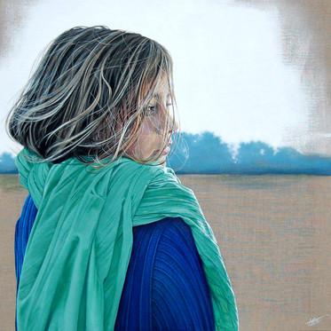 """""""Le foulard vert"""" 80cm x 80cm"""