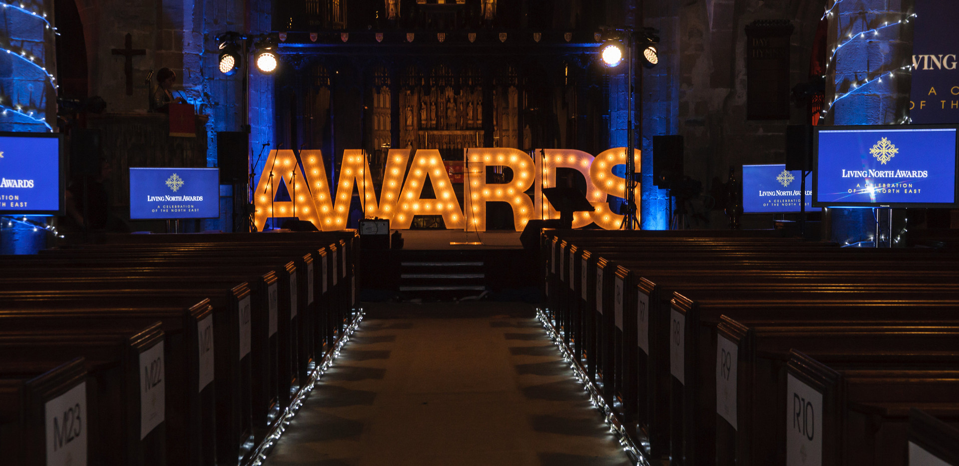 5ft Iluminated AWARDS letters at Living North Awards Evening.