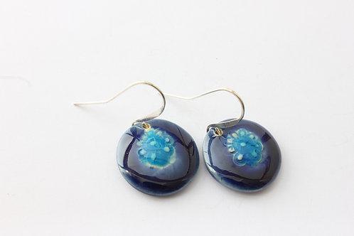 Boucles d'oreilles fleur bleue, turquoises et marine