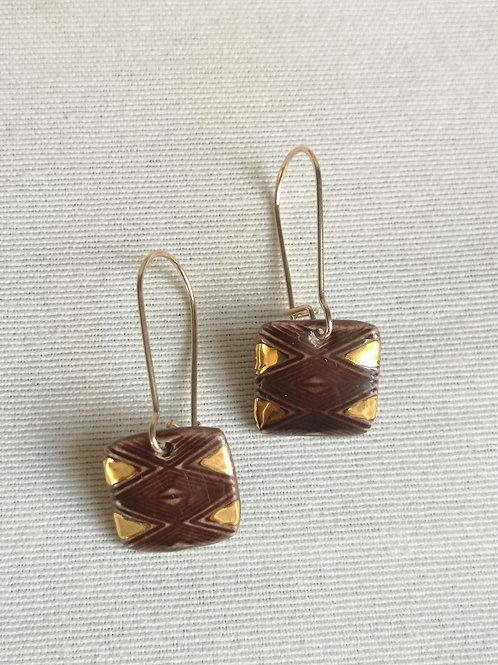 Boucles d'oreilles chocolat, gold filled