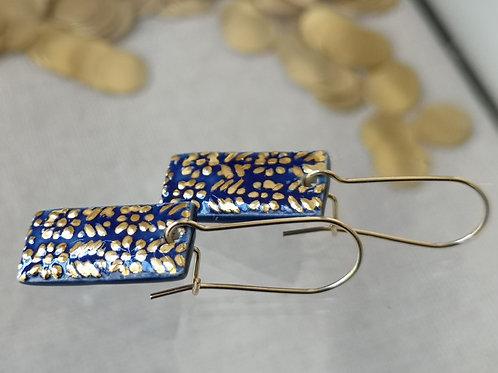 Boucle d oreille bleu et or, collection talisman flora', gold filled