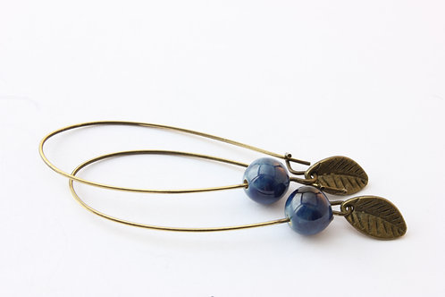 Boucle d'Oreille longue,à  perles bleues