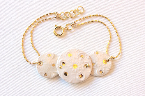 Bracelet faïence lustré or et plaqué or