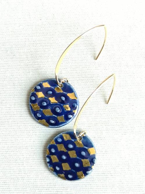 Boucles d'oreilles bleu cobalt, motif arlequin, gold filled