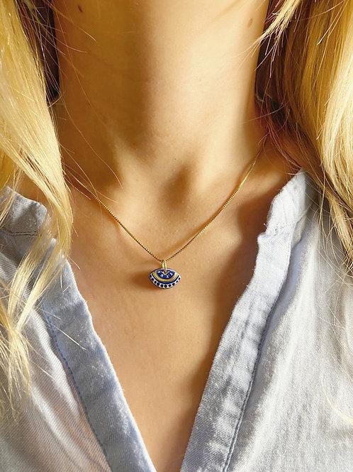 Collier ajna bleu nuit et or, sur chaine gold filled