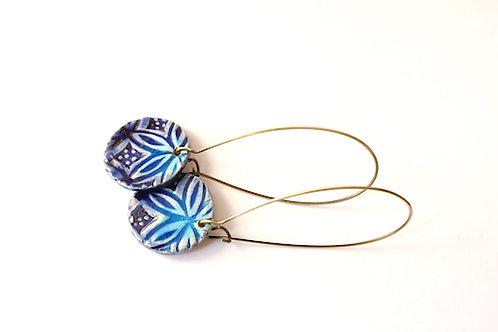 Boucle d'Oreille longue et bleues