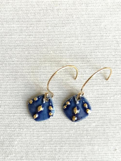 Petites boucles bleues étoilés, gold filled