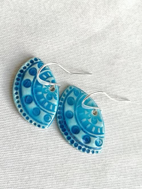 Boucles d oreilles turquoises évantail