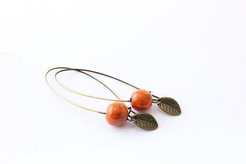 Boucle d'Oreille longue perles oranges